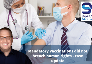 mandatory vaccinations in the workplace is it legal an update - image shows nurse jabbing man in tie.